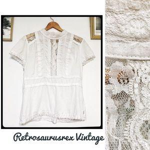 Royal Bones Retro White Lace High Collar Blouse Lg